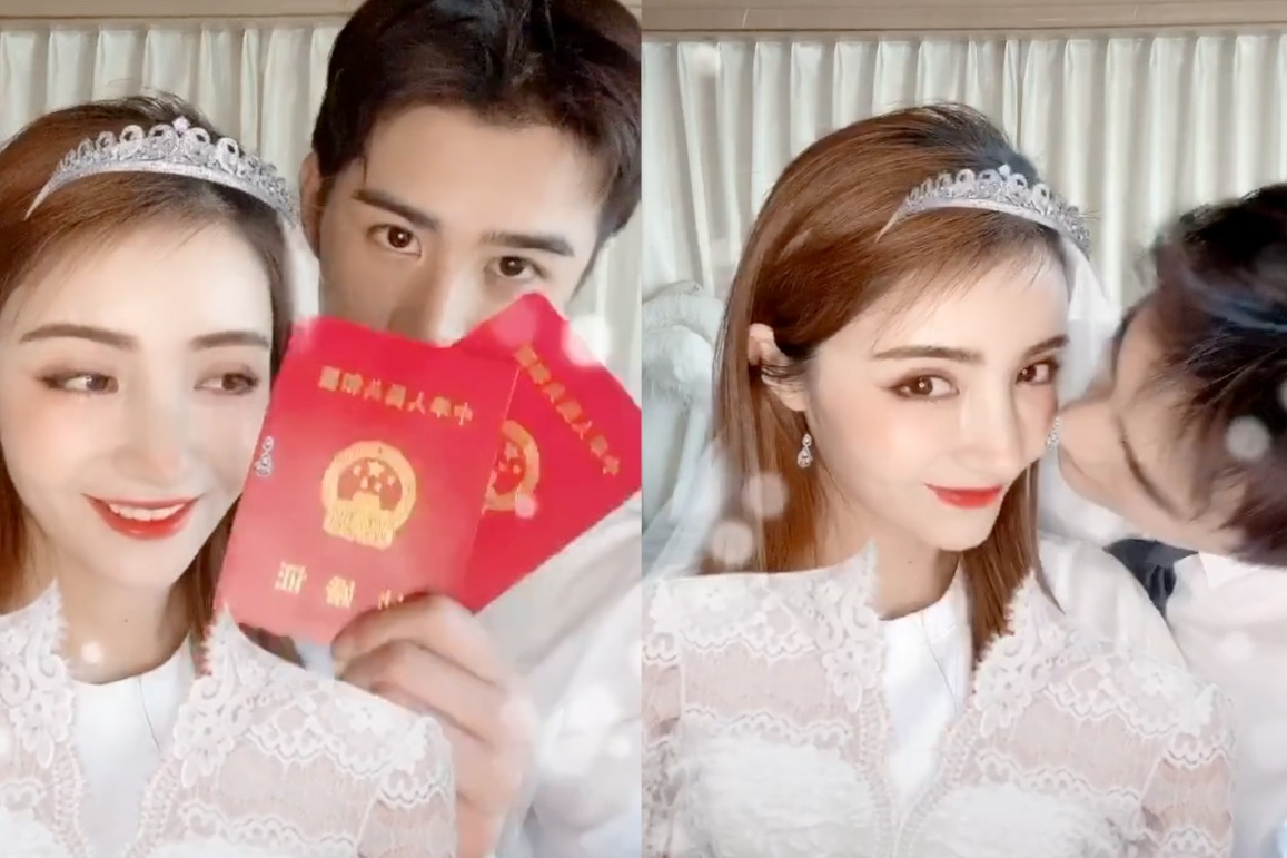 """最美新娘!姜潮麦迪娜结婚纪念日,再穿""""婚纱""""亲吻秀结婚证"""