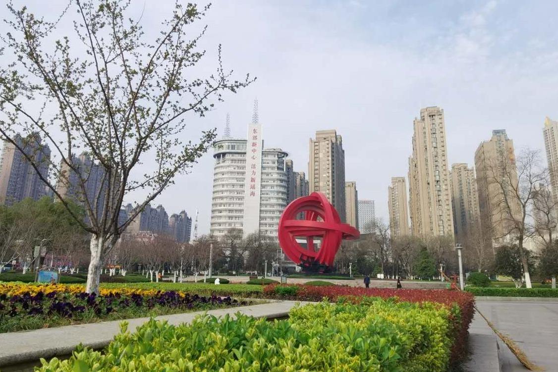合肥市瑶海区和平广场恢复开放了,樱花还没有开,预计一周后盛开