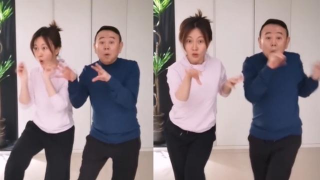 潘长江和女儿潘阳跳逮鸡舞,父女宅家欢乐无限多,表情生动搞笑