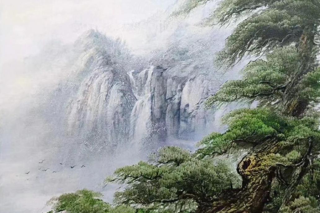 松树是山水画中常见的主体,来看一幅刀画古松图中背景的画法吧