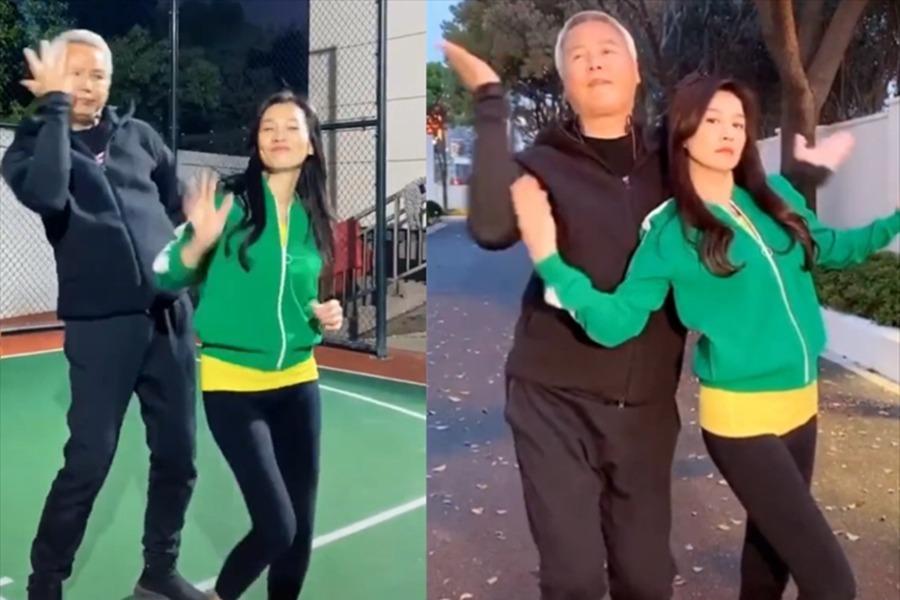 张庭和林瑞阳跳舞秀恩爱,步伐动感活力,加起来110岁却甜如热恋