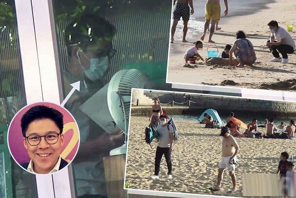 三代同堂!霍启刚携儿女海滩玩沙,霍震霆享受阳光,郭妈负责带孙