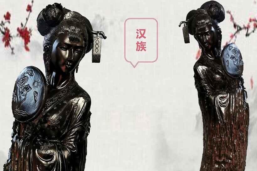 珍贵乌木雕刻 五十六个民族五十六朵花