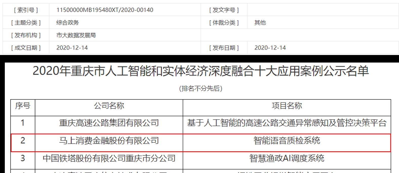 """马上消费两年入围""""重庆市人工智能和实体经济深度融合十大应用"""""""