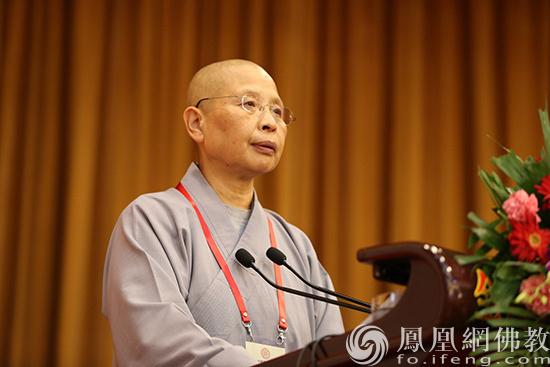中国佛教协会副会长如瑞法师作交流发言(图片来源:凤凰网佛教 摄影:李保华)