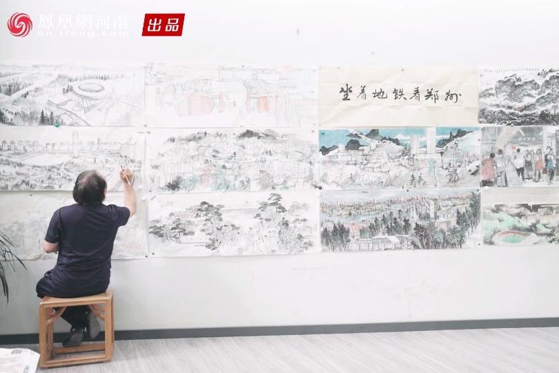 《载梦的郑州地铁》20.63米长卷绘制中