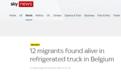 比利时警方在一货车冰柜内发现12名还活着的移民