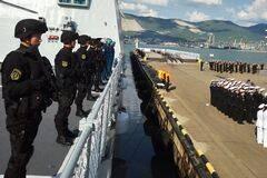 中俄参演舰艇离岸赴演习海域