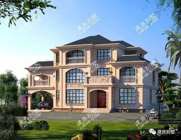 大胆创别墅才会大栋_带车库的豪华大别墅,两栋房子造型都很美,美出天际