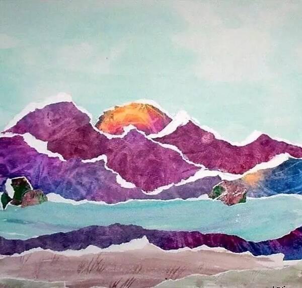 手工撕紙粘貼畫獲獎作品之遠山的風景