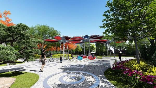 街角綠地設計▲ 流暢的風景視廊,變化鮮明的區段主題,舒緩有致的空間