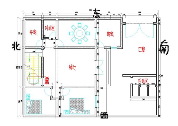 很明顯問題出在廚房這個地方,首先他們的房子坐北朝南,屬于一白星圖片