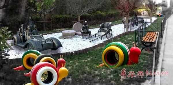废旧车轮做成的艺术品和铜质的各年代车型随处可见。.jpg