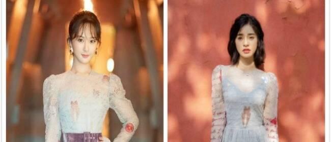 沈月杨紫穿同条纱裙 同为人气小花效果大不同
