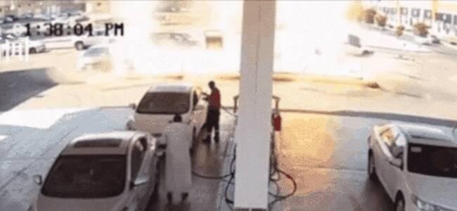 恐怖!加油站油箱突然爆炸 火焰瞬间从地面窜出