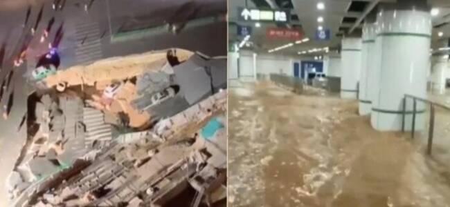 现场:厦门吕厝地铁站附近发生地陷 车站内被水淹没