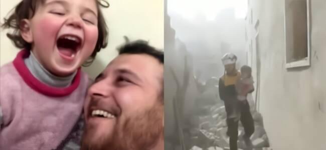现实版美丽人生!叙利亚3岁难民听到轰炸大笑 背后原因令人动容