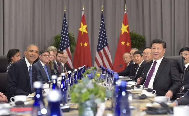 核安全峰会:中美双边会议画面